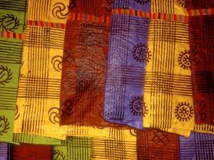 Detail of Adinkra Cloth, Market, Sampa, Brongo-Ahafo Region, Ghana by Alison Jones