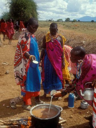 Maasai Women Cooking for Wedding Feast, Amboseli, Kenya