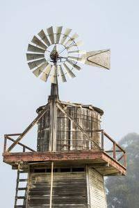 USA California. Cayucos, old wooden water tower with windmill for pumping by Alison Jones