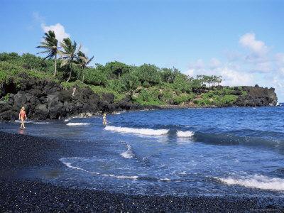 Walanapanapa Black Sand Beach, Hana Coast, Maui, Hawaii, Hawaiian Islands, USA