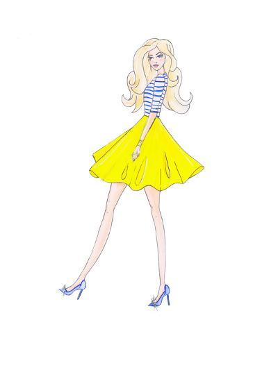Alison Yellow Skirt- Alison B Illustrations-Art Print