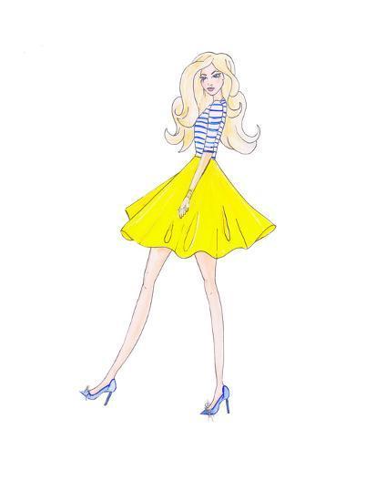 Alison Yellow Skirt- Alison B Illustrations-Art Print