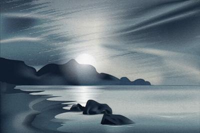 Marine Landscape with the Setting Sun by Alkestida
