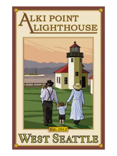 Alki Point Lighthouse, Seattle, Washington-Lantern Press-Art Print