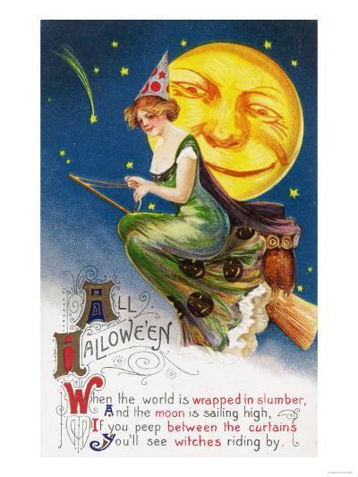 All Halloween Witch on a Broom by Full Moon Scene-Lantern Press-Art Print