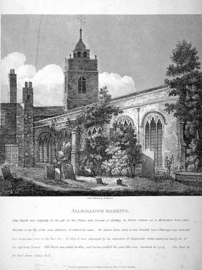 All Hallows-By-The-Tower Church, London, 1810-William Pearson-Giclee Print