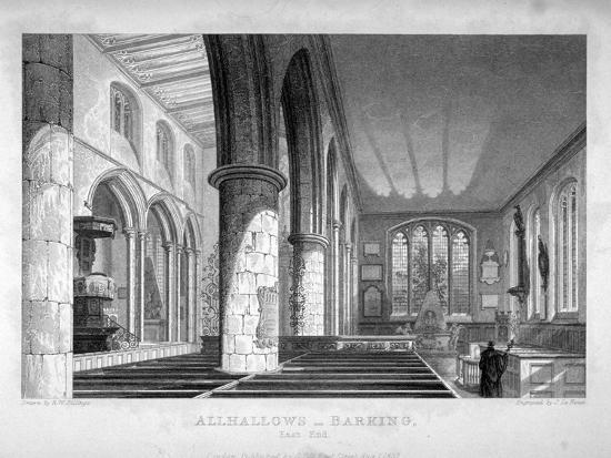 All Hallows-By-The-Tower Church, London, C1837-John Le Keux-Giclee Print