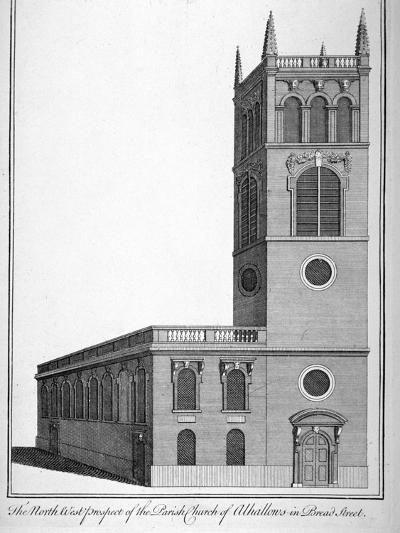 All Hallows Church, Bread Street, London, 1750-Benjamin Cole-Giclee Print