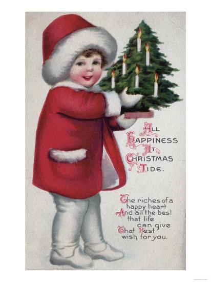 All Happiness at Christmas Tide - Child Holding a Tree-Lantern Press-Art Print