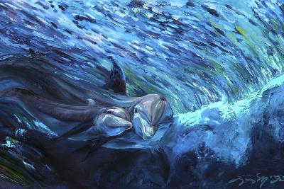 All My Waves Mother and Baby Bottlenose Dolphin-Lucy P. McTier-Giclee Print