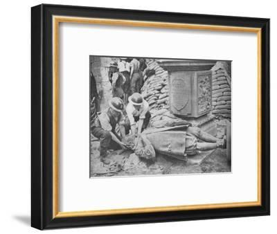 All Night Raid on Britains Capital - Statue of John Milton, 1940, (1940)--Framed Photographic Print