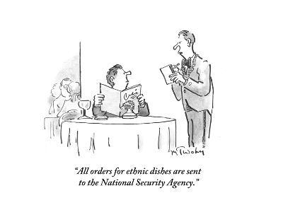 """All orders for ethnic dishes are sent to the National Security Agency."" - Cartoon-Mike Twohy-Premium Giclee Print"