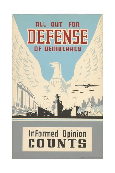 All Out for Defense of Democracy Poster--Giclee Print