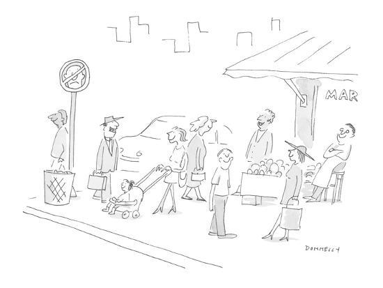 All pedestrians on the sidewalk are smiling; there's street sign whose des? - Cartoon-Liza Donnelly-Premium Giclee Print