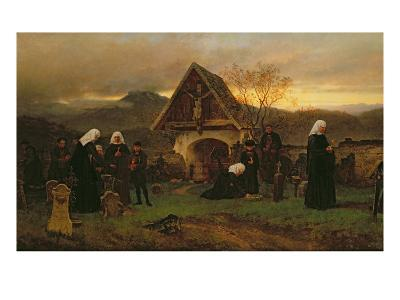 All Soul's Day in the Cemetery-Ludwig Friedrich Wilhelm Riefstahl-Giclee Print