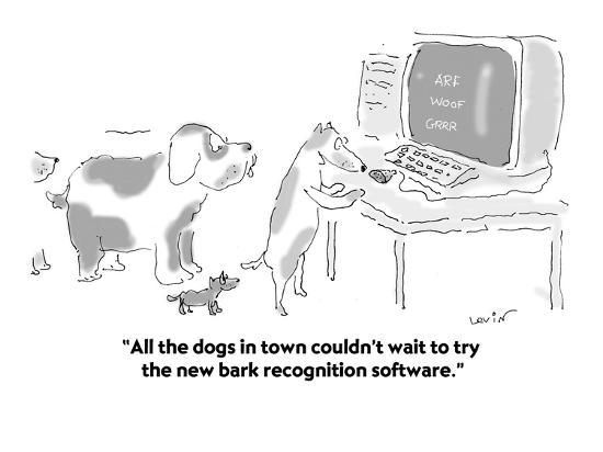 """""""All the dogs in town couldn't wait to try the new bark recognition softwa?"""" - Cartoon-Arnie Levin-Premium Giclee Print"""