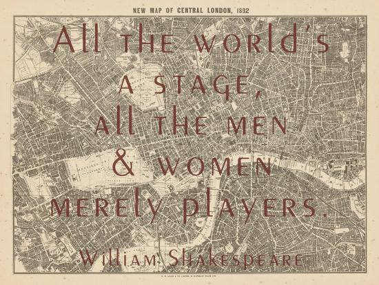 Map Of Central London To Print.All The World S A Stage Shakespeare 1892 Central London United Kingdom Map Giclee Print By Art Com