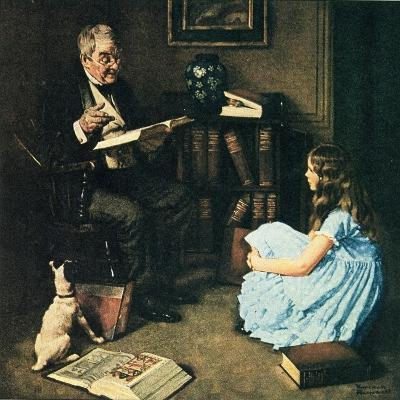 All The World's Knowledge Can Now Be Yours (or The Perfect Audience)-Norman Rockwell-Giclee Print
