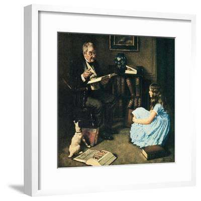 All The World's Knowledge Can Now Be Yours (or The Perfect Audience)-Norman Rockwell-Framed Giclee Print