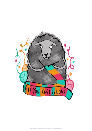 All You Knit Is Love - Katie Abey Cartoon Print-Katie Abey-Giclee Print