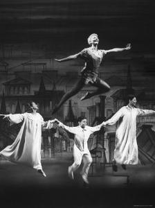 """Actress Mary Martin Gives kids a Flying Lesson in the Broadway Production of Musical """"Peter Pan"""" by Allan Grant"""