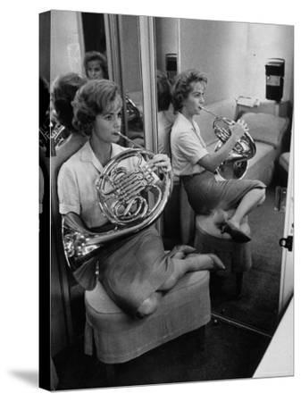 Debbie Reynolds Playing French Horn for Relaxation