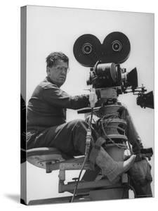 """Director George Stevens Lining Up Shot in Camera for the Movie """"Giant"""" by Allan Grant"""