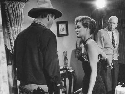 """Director Howard Hawks Coaching Actress Angie Dickinson on Set for """"Rio Bravo"""""""