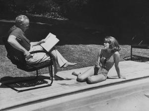 Director Joshua L. Logan Studying a Movie Script with Young Actress Jane Fonda by Allan Grant