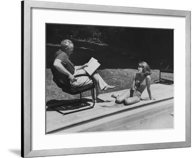 Director Joshua L. Logan Studying a Movie Script with Young Actress Jane Fonda