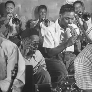 """Dizzy Gillespie, """"Bebop"""" King, with His Orchestra at a Jam Session by Allan Grant"""