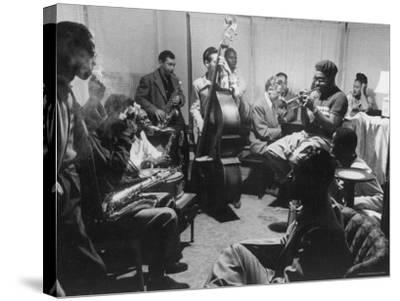 Dizzy Gillespie, Behob King, Practicing with His Orchestra Before Their Performance