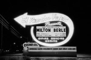 Lit Up Sign of El Rancho Vegas Advertising Milton Berle and Supporting Acts, Las Vegas, 1958 by Allan Grant