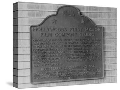 Plaque Commemorating Hollywood's First Major Film Company Studio