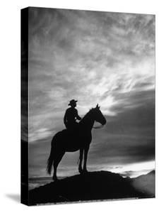Silhouettes of Cowboy Mounted on Horse by Allan Grant