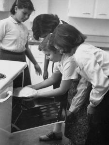 Students Baking a Pie at Saddle Rock School by Allan Grant