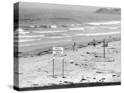 "Surfers Walking to Water Behind Sign Reading ""Official Surfing Area"""