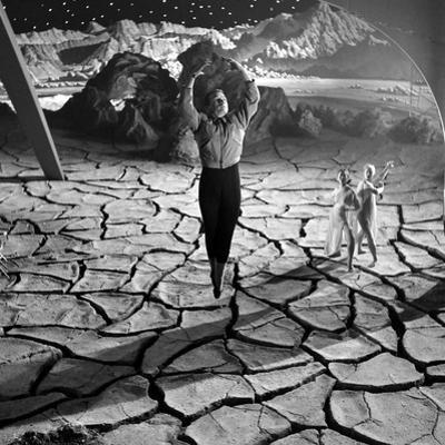 Unidentified Actor on Set of Film 'Destination Moon', 1950