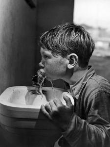 Young Boy Drinking from a Water Fountain by Allan Grant