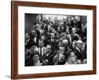 "Allan Jay Lerner and Frederick Loewe with Crowd After ""My Fair Lady"" in Mark Hellinger Theater-Gordon Parks-Framed Premium Photographic Print"
