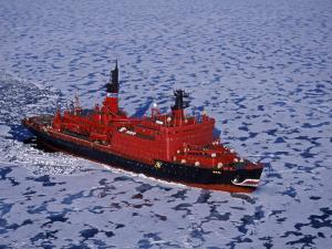 Franz Josef Land, Aerial View of Russian Nuclear-Powered Icebreaker 'Yamal' in Sea-Ice, Russia by Allan White