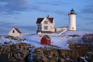 Snow Covered Lighthouse during Holiday Season in Maine. by Allan Wood Photography