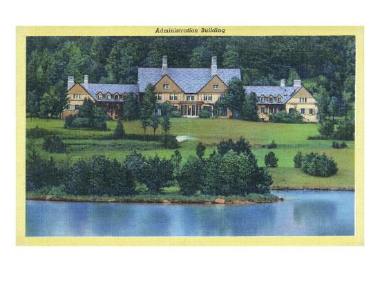 Allegany State Park, New York - Exterior View of the Administration Building-Lantern Press-Art Print