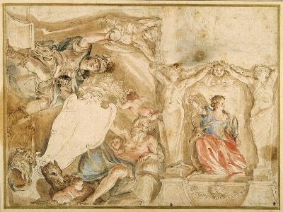 Allegorical Decoration for One Corner of a Coved Ceiling-Giovanni Francesco Romanelli-Giclee Print