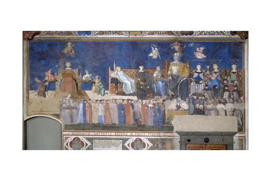Allegory of Good and Bad Government: Good Government-Ambrogio Lorenzetti-Giclee Print