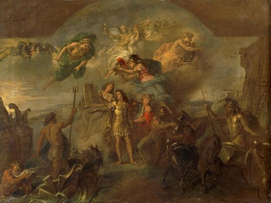 Allegory of Louis XIV, the King Armed on Land and at Sea, 1678-Charles Le Brun-Giclee Print