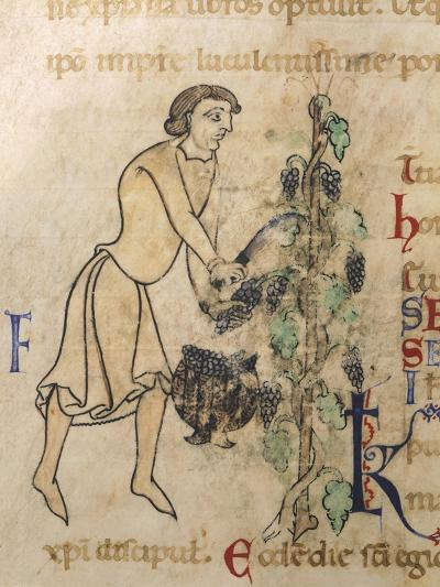 Allegory of September, Miniature from a Martyrology, 12th Century--Giclee Print
