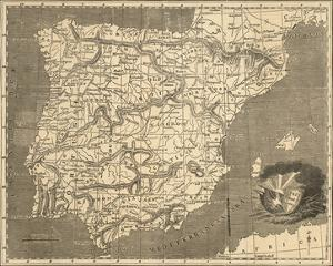 Map of Spain and Portugal by Allen Robert Branston