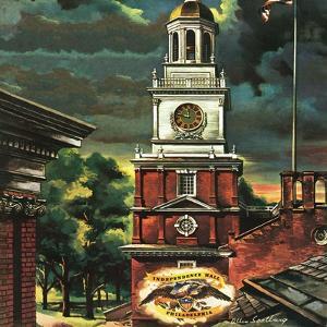 """Independence Hall, Philadelphia, Pa.,"" June 2, 1945 by Allen Saalburg"