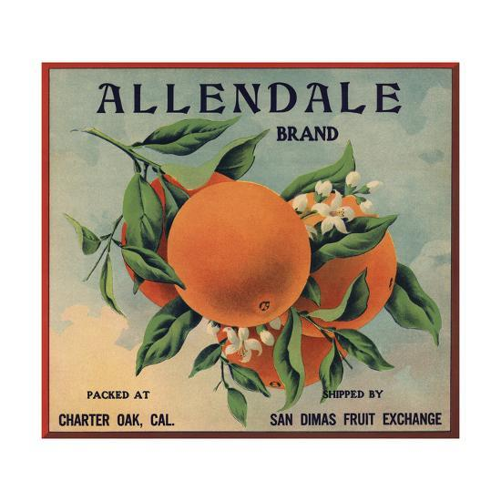 Allendale Brand - Charter Oak, California - Citrus Crate Label-Lantern Press-Art Print
